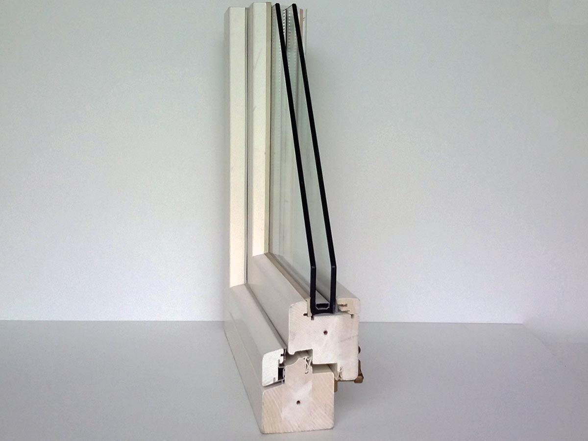 Sezione serramento legno bianco 78 mm