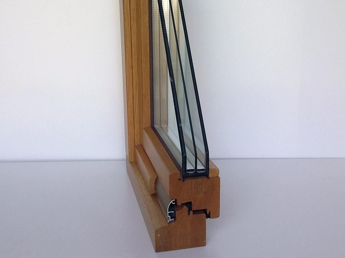 Sezione serramento legno noce 92 mm