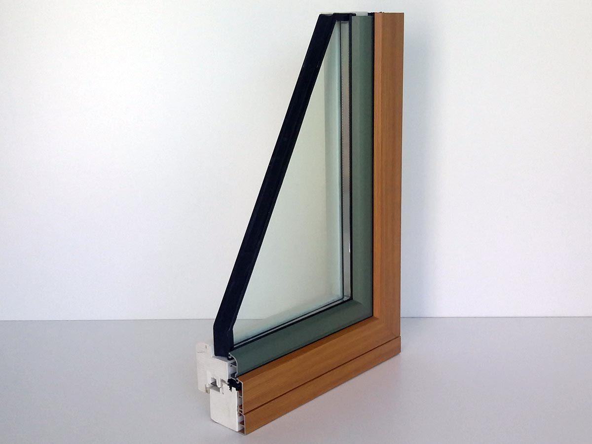 Serramento in legno-alluminio noce con spessore 85 mm